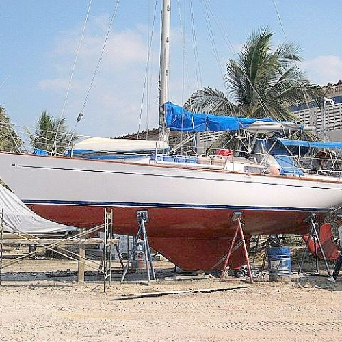 Sno Virgin, Cartagena, Colombia. New Bottom Paint And New Hull Paint