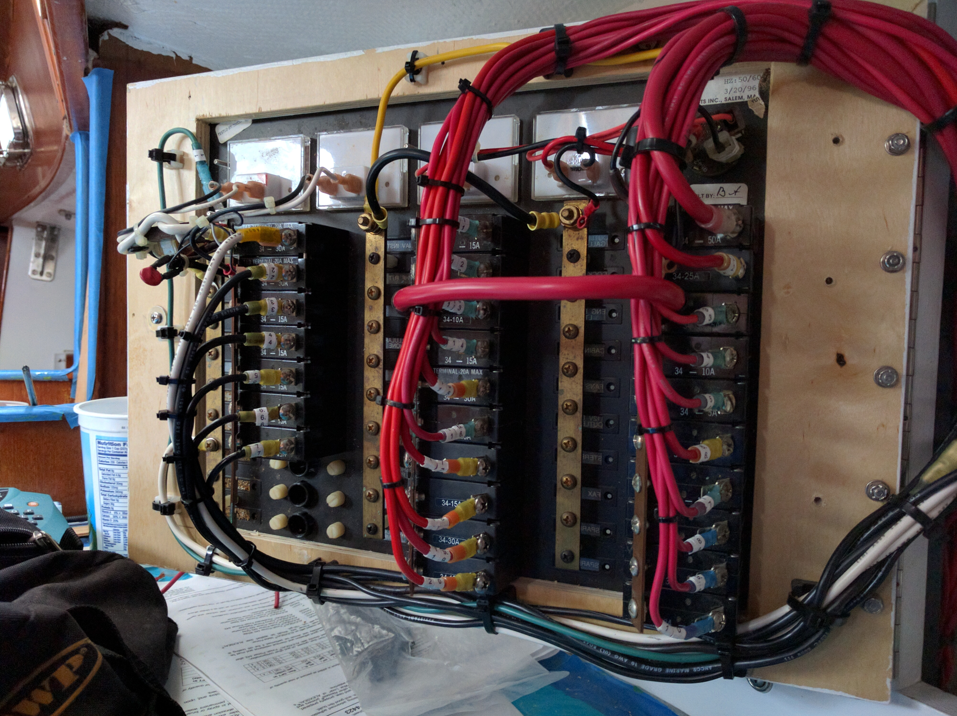 Backside new electrical panel wiring complete | Morgan 38 Sailboat on