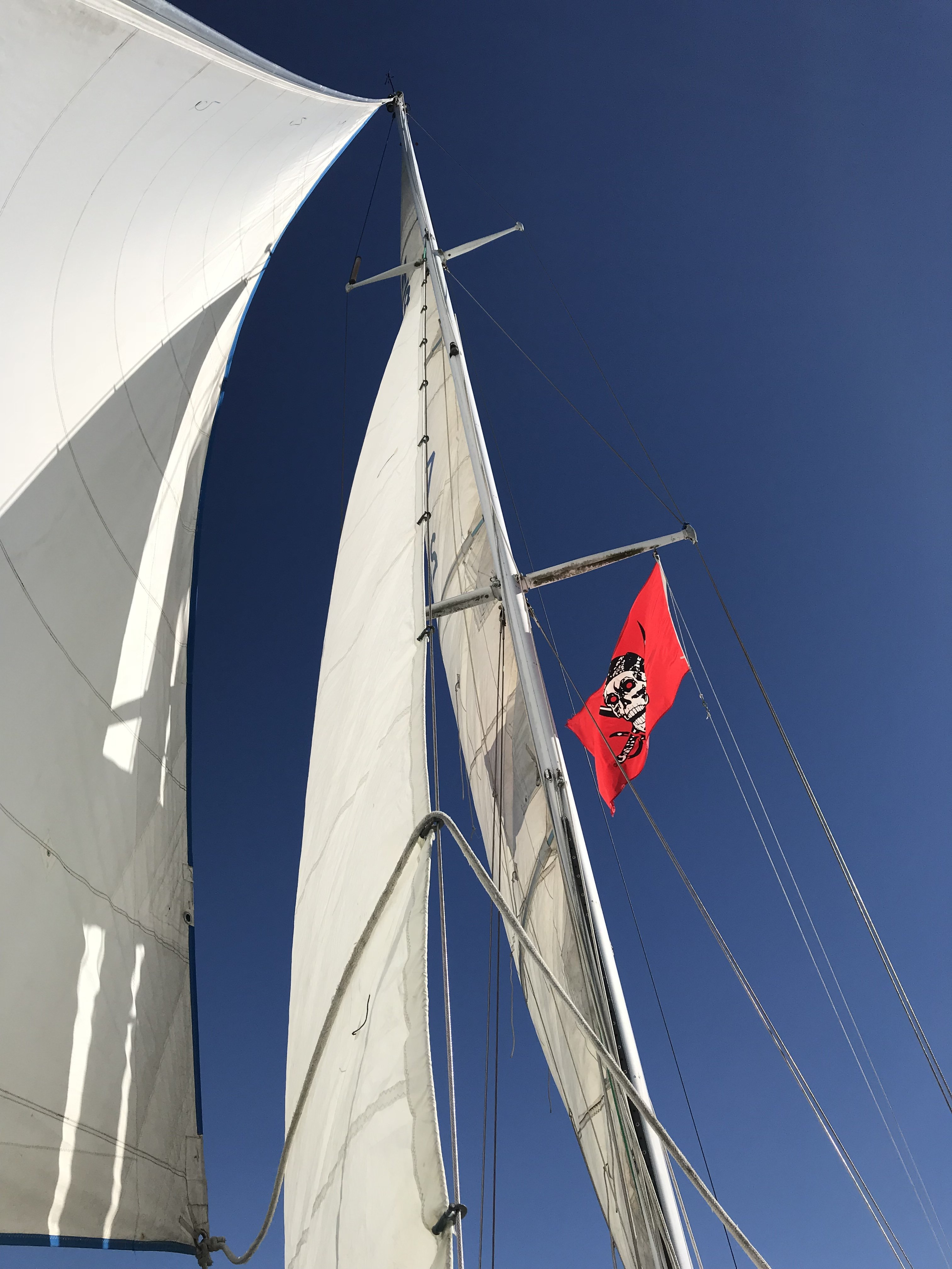 flying the staysail for the first time.